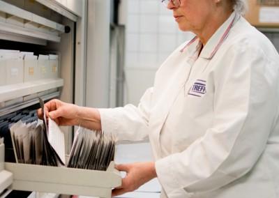 employé de Treffert avec des cartes de couleur de recettes pour la coloration des plastiques pour la fabrication des mélanges-maîtres couleurs