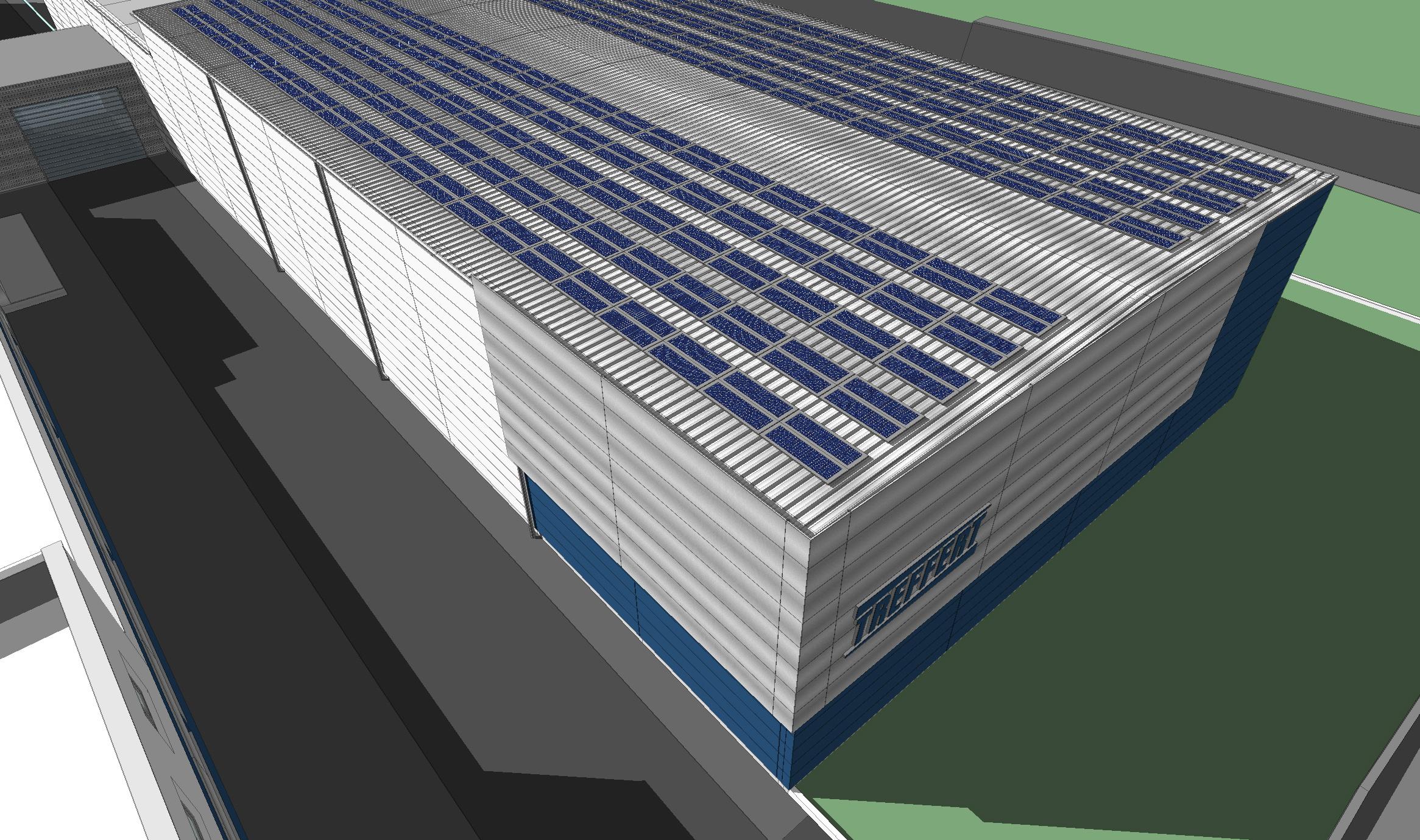 3D Ansicht Vogelperspektive vom Neubau der Lagerhalle mit Photovoltaikanlage auf dem Dach bei Treffert in Bingen