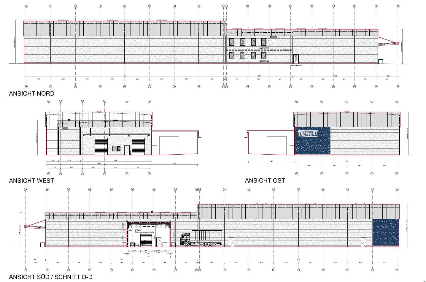 Zeichnungen Nord-, Süd-, Ost- und Westansicht vom Neubau der Lagerhalle bei Treffert in Bingen