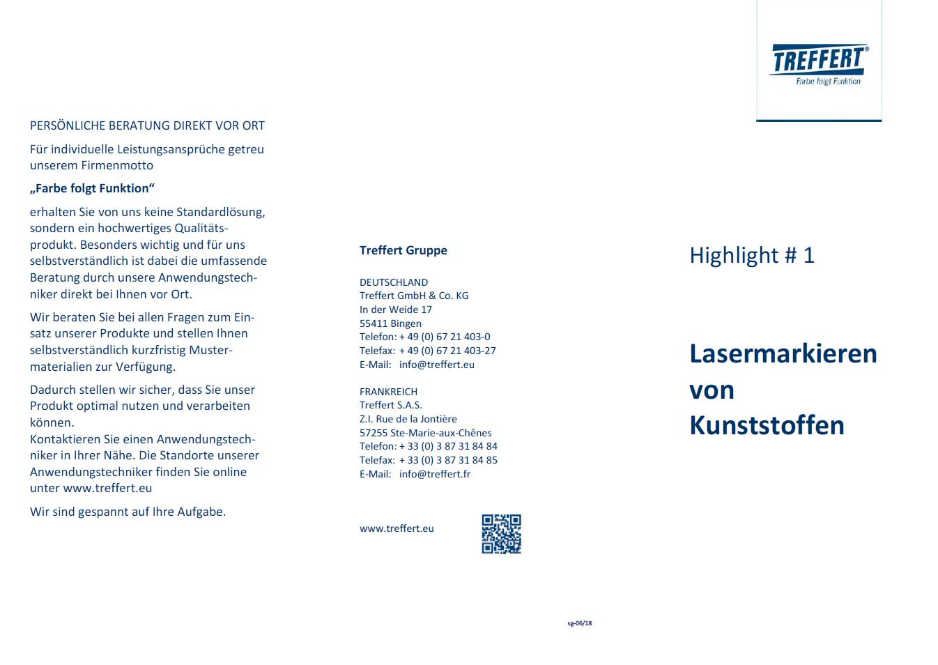 Broschüre Lasermarkieren von Kunststoffen von Treffert