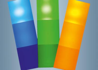 Les diffuseurs dispersent la lumière sur toute la surface.