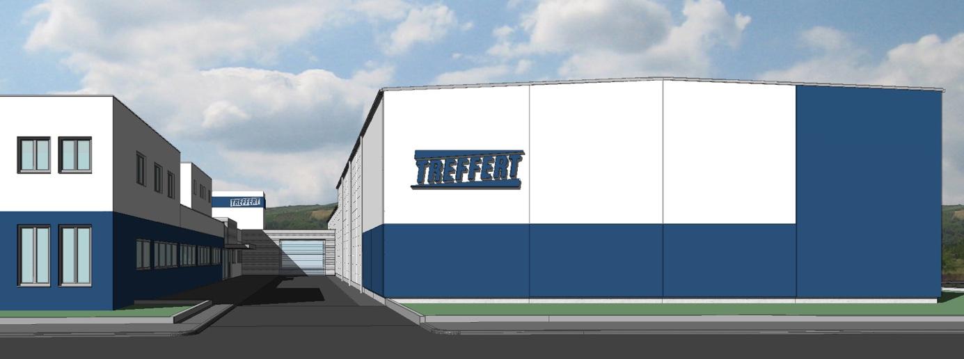 Grundriss vom Neubau der Lagerhalle bei Treffert in Bingen mit Wareneingang, Warenausgang, Verpackung, Werkstatt und großem Lagerbereich