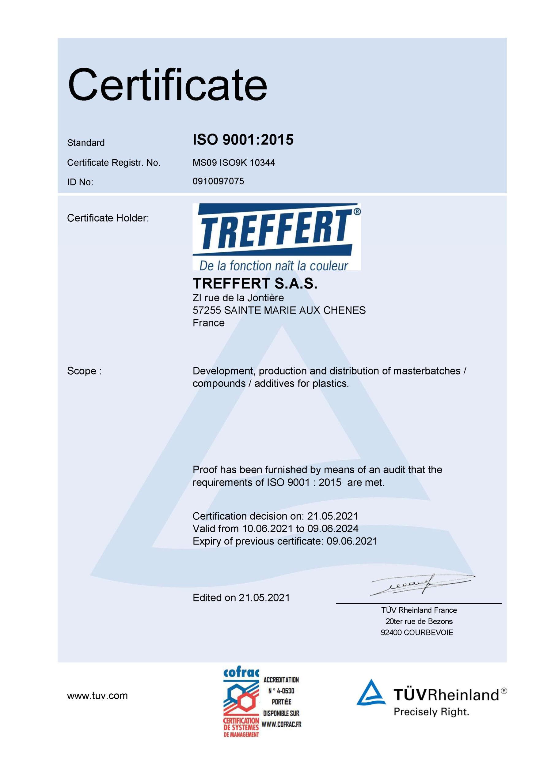 Treffert DIN EN ISO 50001 Certification