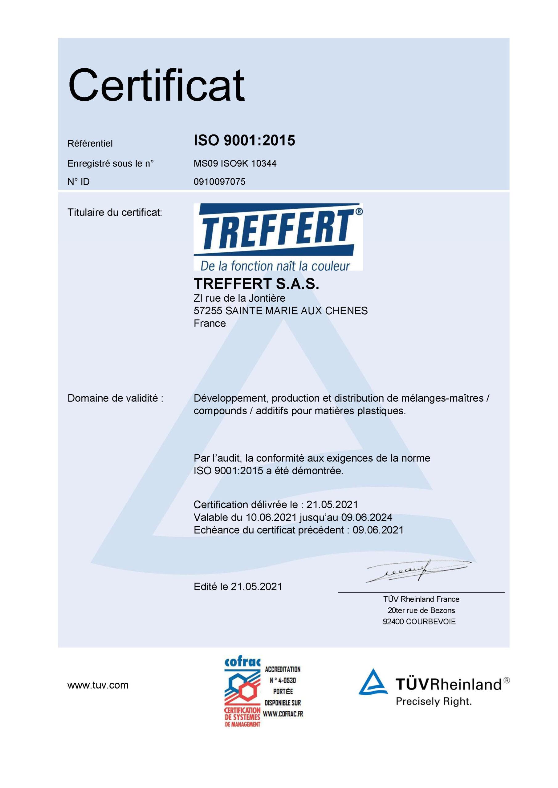 Treffert Zertifikat ISO 9001