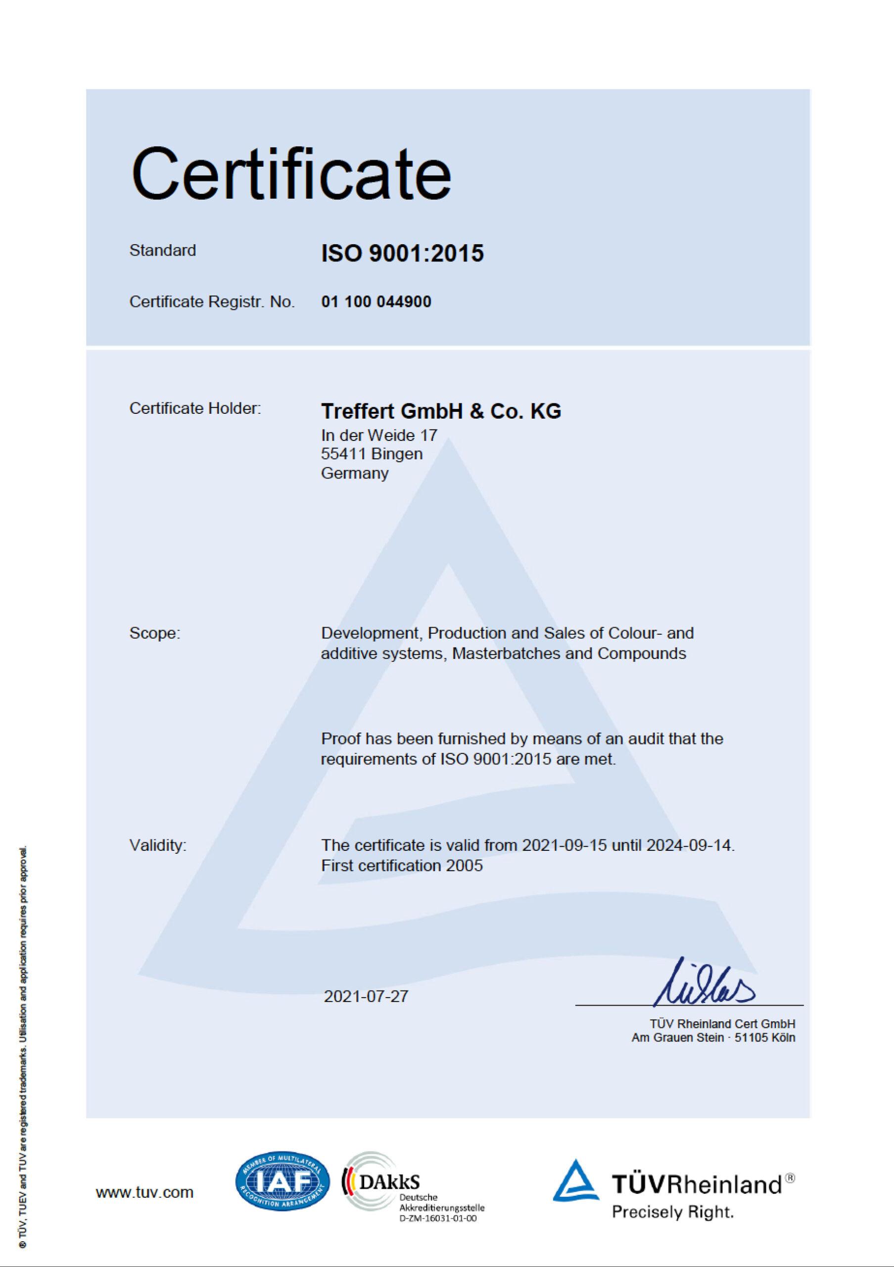 Treffert DIN EN ISO 9001 Certification